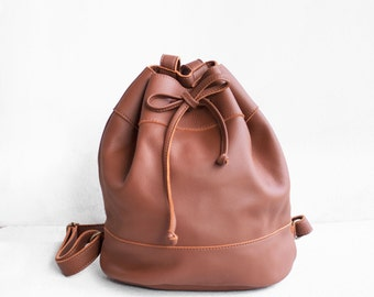 Leather Drawstring Backpack in Sienna Brown/ Brown Bag /Leather Backpack/Leather Bag/Drawstring Bag/Bucket Bag/Backpack purse/Brown Backpack