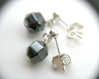 Tiny Silver Drop Earrings . Geometric Stud Earrings . Hematite Stone Earrings Sterling Silver . Anti Anxiety Jewelry - Moulin Collection