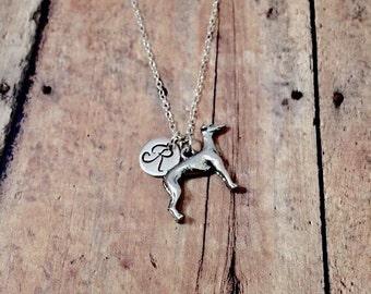 Greyhound initial necklace - greyhound jewelry, dog breed necklace, greyhound pendant, silver greyhound necklace, dog breed jewelry