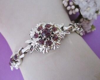 Vintage Rhinestone Bracelet silvertone and amethyst purple