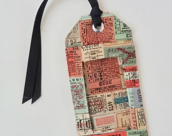 fabric luggage tag - party favors - save the date - id holder - travel gifts - travel accessories - travel stamps