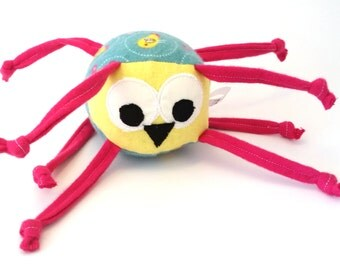 Tweets the Yellow bird - stuffed animal with knotted strings, green and pink, personalization available