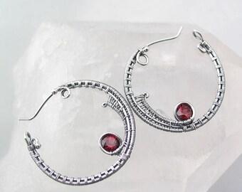 Earth Day Sale Rhodolite Garnet Wire Wrapped Earrings Hoop Earrings Wire Wrapped Jewelry Heady Wire Wrap Sterling Silver