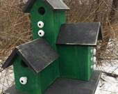 Primitive Country Condo Birdhouse,  Green and Black Three Nesting Boxes Birdhouse, Unique Handmade Birdhouse
