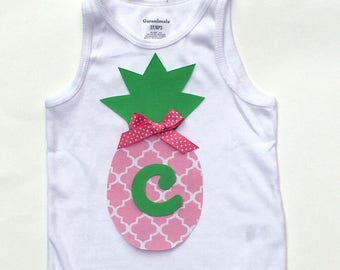 Pineapple, Letter, Initial, Personalization, You Pick Your Letter,Bow Included, Fabric Iron On Appliques