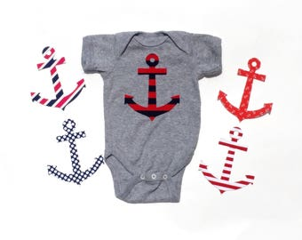 Anchor ...Fabric Iron On Applique...Choose From 5 Fabrics