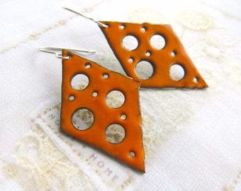 Enamel earrings - Orange earrings - boho earrings - torch fire rustic enamel Artisan jewelry