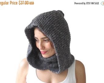 20% WINTER SALE Turtleneck Dark Gray Hood Hat by Afra