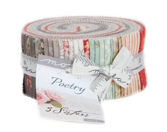 Poetry Jelly Roll Fabric - Moda Jelly Roll - 3 Sisters Fabric - Moda Fabric Romantic Floral Quilt Fabric Collection 2.5 inch fabric strips