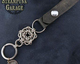 "Key Fob - Unique ""Eye"" Focal - Leather and stainless steel chainmaille"