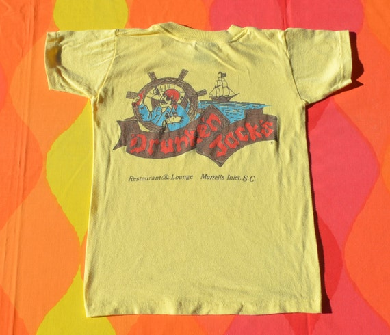vintage 80s kid's tee DRUNKEN JACKS south carolina restaurant children's t-shirt youth Medium 10 travel