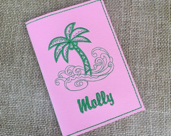Personalized Passport Cover for Women - Pink Faux Leather Passport Holder - Palm Tree Motif Passport Cover with Name - Travel Gift for Her