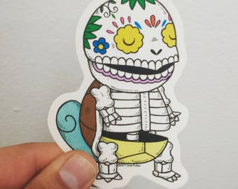 Squirtle Calavera Clear Die-cut Vinyl Sticker Day of the Dead