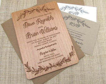 wooden invitations etsy Real Wood Wedding Invitations botanical wood wedding invitation floral flower wedding invitation real wooden invite real wood wedding invitations