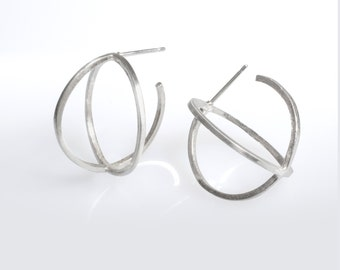 3D Architectural Sculptural Earrings, Sterling Silver Post Earrings, Minimalist  Silver Earrings, Hypoallergenic Earrings