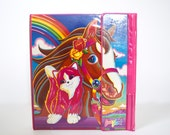 FLASH SALE / 20% off Vintage 80s 90s Lisa Frank Kitten and Horse 3 Ring Binder Trapper Keeper