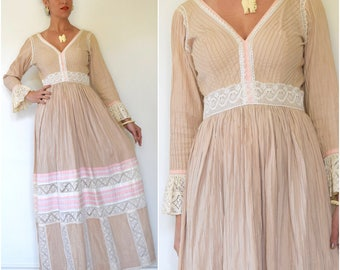 SUMMER SALE / 20% off Vintage 60s 70s Neapolitan Pin Tucked Pleated Mexican Maxi Dress (size medium)