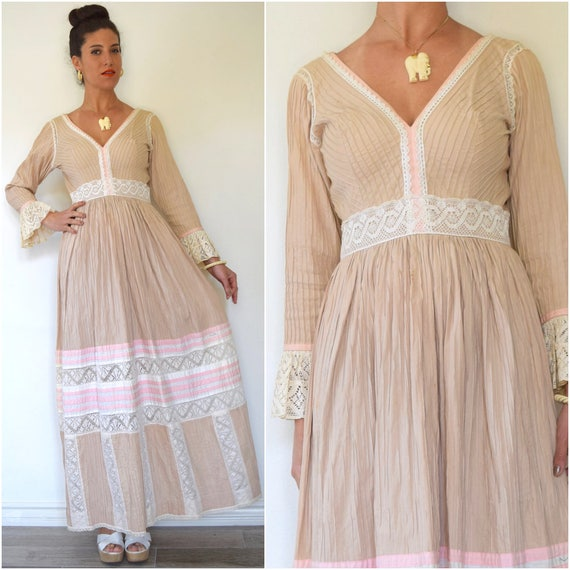 SPRING SALE/ 20% off Vintage 60s 70s Neapolitan Pin Tucked Pleated Mexican Maxi Dress (size medium)