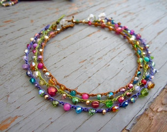 Carmelita in color crocheted anklets, boho, natural jewelry
