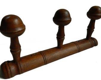 Wooden faux bamboo coat-racks - 3 hooks - French retro