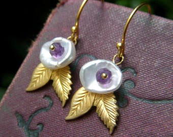 Keishi Pearl Earrings on Gold Vermeil, Short Pearl Leaf Earrings, White Keishi Pearls, Amethyst Earrings, Freshwater Pearl Earrings