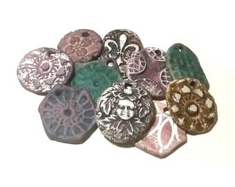 10 Ceramic Pendants Rustic Ancient Stoneware Fantasy Mix Magical Tribal Ethnic Celtic Mystical Metaphysical Textured Blue Brown Black Patina