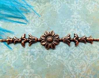 ANTIQUE COPPER (2 Pieces) Floral Bar Spray Flower Stamping ~ Jewelry Findings (FA-6064) %