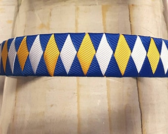 "Woven Headband Blue White and Gold Blue White and Yellow Headband  7/8"" Back to School Headband Uniform Headband Electric Blue White Yellow"