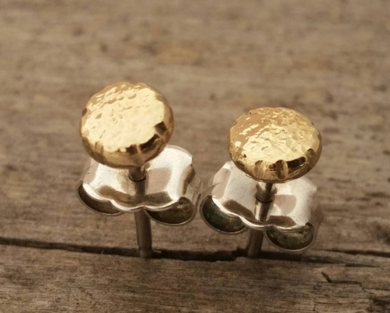 Tiny Solid Gold Flat Pebble Circle Studs, Minimalist 14k Yellow Gold Or Rose Gold Dot Studs, Sterling Silver Post - Choose 3mm, 4mm, Or 5mm
