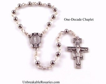 Stainless Steel Miraculous Medal Rosary Chaplet w San Damiano Crucifix by Unbreakable Rosaries
