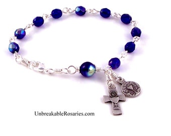 Holy Communion Rosary Bracelet Fire-Polished Blue Czech Glass w Chalice  by Unbreakable Rosaries