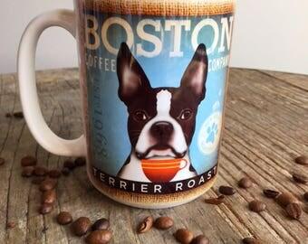 Boston Terrier dog Coffee company graphic art MUG 15 oz ceramic coffee mug