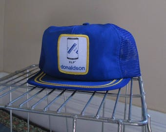Donaldson Vintage Trucker hat Union made 80s baseball Cap Patch blue and white Cotton vintage hat 80s Adjustable snapback Hat