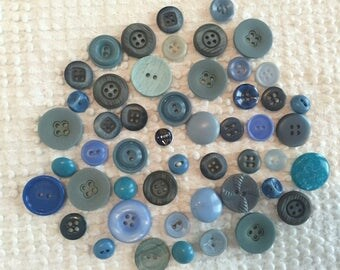 Vintage Buttons - Set of 50 Shades of Blue - For Sewing, Crafting and More