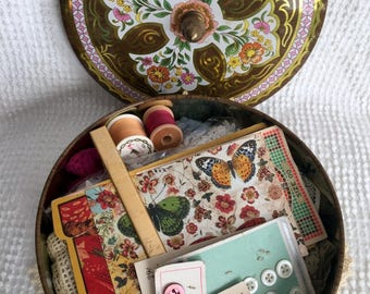 Vintage Floral and Gold Treasure Tin filled with an amazing assortment of ALL VINTAGE sewing notions, trim, lace, buttons and more - WOW