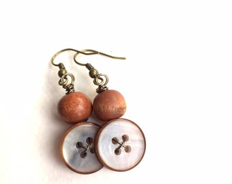 MIxed Media Earrings made from vintage buttons and wooden beads