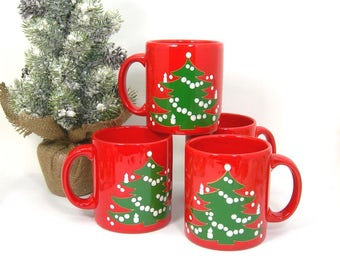 Waechtersbach Christmas Tree Red Mugs, Set of 4, Vintage 1980s Holiday Table, 12 Oz Capacity, Western Germany Pottery Coffee Cups