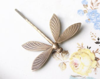 Dragonfly bobby pin hair pin brass 1920's art nouveau style hair slide bridal hair antique bronze finish spring wedding hair accessory