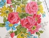 A Rose By Any Other Name... Vintage Floral Bouquet Cabbage Roses Flower Wallpaper Roll Cottage Ephemera Wall Covering
