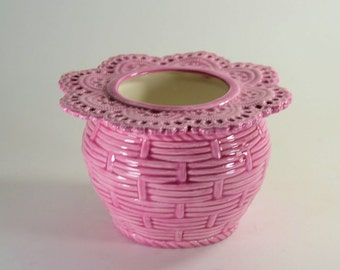 African Violet Pot Basket Weave Small Pink