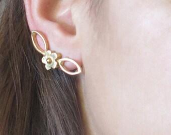 Gold Ear Climbers, Gold Ear Posts,  Gold Ear Lobe Posts, Gold Earrings, Gold Stud Earrings, Ear Jackets Gold, Leaf Ear Climbers