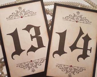 Wedding Table Numbers, Halloween Wedding, Gothic Wedding Stationery, Black Wedding Stationery, Vampire Wedding, Halloween Table Numbers