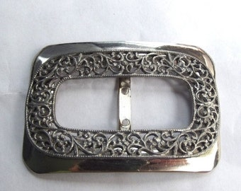 ON SALE Ornate Antique Silver Buckle, Slide, Floral Victorian style design, Early 20th Century