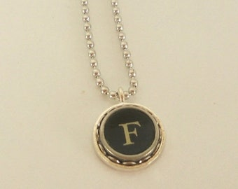 SALE Typewriter Key Necklace -  Letter F - Vintage - Initial Jewelry -  ALL Letters Available - Typography Jewelry