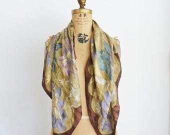 SALE Silk Scarf. Gift for Her.Vintage Anne Klein. large floral .Square scarves