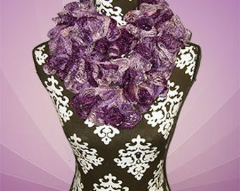 Ruffle Scarf, Crochet Fashion Boa, Textured Bufanda, Orchid's and iris's