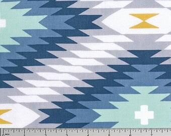Boho Fabric, Tribal Fabric, Wander fabric, Joel Dewberry, Rustic Home Decor, Southwestern Decor, Azetca in Midnight,- Choose the cut