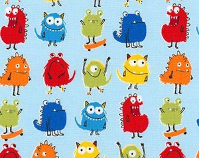 Monster fabric, Kids fabric, Baby fabric, Cute Novelty fabric, Cotton fabric by the yard, Monsters in Blue, Choose your cut