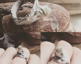 Bliss hand sculpted twig ring w 0.5 ct platinum colored rough diamonds size 7
