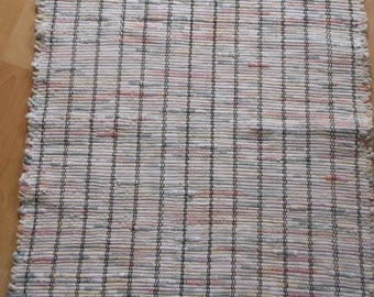 """Multi Colored Pastel Flannel Woven Rag Rug Hand Loomed 32"""" x 27.5"""" New USA Made Machine Washable"""